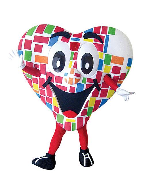 mascot mascote de vestir coracao - Portfólio de Mascotes de Pelúcia Personalizados